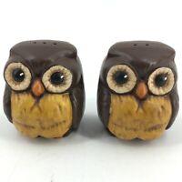 Vintage Hoot Owl Salt Pepper Shakers Signed Silva Mid Century Modern Birds