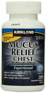 Kirkland Mucus Relief Chest Guaifenesin 400mg Expectorant 200 Tablets 07/2023!