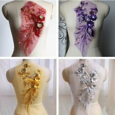 Lace Applique Motif Sequin Crystal Trim Wedding Embroidery Sewing Craft DIY
