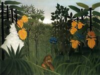 PAINTING HENRI ROUSSEAU THE REPAST OF THE LION LARGE ART PRINT POSTER LF2128