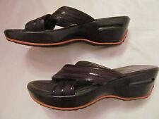 COLE HAAN NIKE AIR G SERIES Brown X cross strap wedge slides shoes 7 B   *
