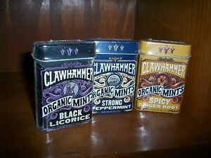 new Organic Mints Clawhammer Black Licorice Spicy Ginger Strong Peppermint Mints