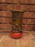 Ceramic Vase Art Pottery Mid Century Olive Green Orange Japan