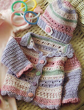 Vintage crochet pattern baby nouveau-né poupée belle veste & chapeau