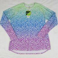 Bette & Court Women's Athletic Long Sleeve Shirt White Blue Green XL UPF 50