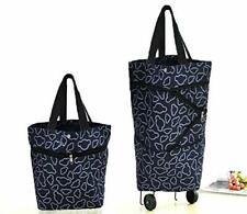 Folding Shopping Cart Trolley Bag with Wheels Collapsible Foldable Grocery Tote