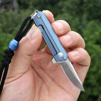 D2 Damascus Blade Titanium Knife Mini Pocket EDC Tools Survival Folding Keychain