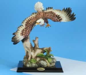 De Capoli Collection Flying Eagle On A Tree Statue, Figure. Ceramic.