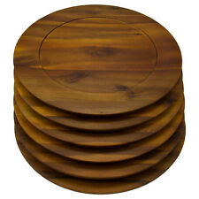 6pk Round 13 Inch Wooden Charger Plates B. Smith Solid Acacia Dinner Servers Set