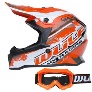 Wulfsport Cub Pro Kids Motocross Helmet + Childrens Goggles MX Orange Off  Road