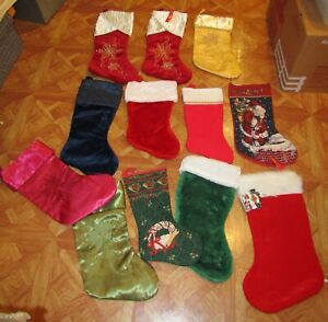 Lot of 12 Christmas stockings to hang, crafting, gifts, etc