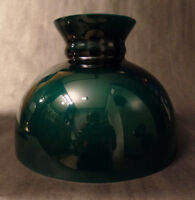 """New 10"""" Cased Green Over Opal Plain Top Oil Student Table Glass Lamp Shade SH064"""