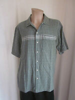 NORTHCREST Green White Check Short Sleeve Cotton Fishing Camp Shirt L Large