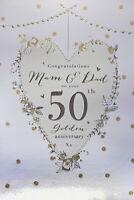 Mam & Dad Golden 50th Wedding Anniversary Card