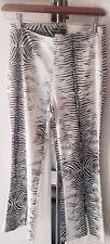 Bebe Sexy Zebra Print Satiny Capri Pants W/Side Zipper Size 4