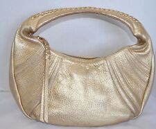 Kenneth Cole Handbag Metallic Gold Leather Women Hobo Satchel Baguette Bag Purse