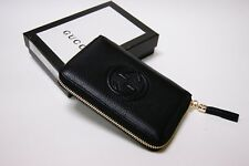 New Authentic Gucci Soho Small Black Leather Zip Around Wallet Clutch