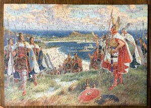 """VINTAGE WOODEN GWR JIGSAW PUZZLE - """" VIKINGS LANDING AT ST.IVES"""" COMPLETE"""
