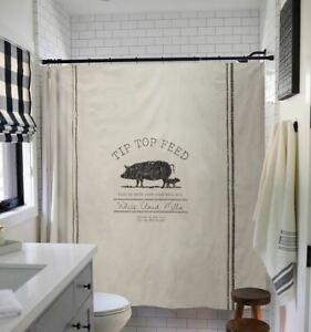 Chic Feed Shower Curtain Farmhouse Country Pig Vintage Feed Bag Grain Sack Farm