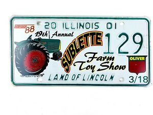 Tractor Picture License Plate Art 2001 Special Event Sublette IL Man Cave Gift