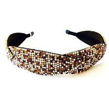 USA Handmade Headband Rhinestone Crystal Hairband Hairpin Bling Fashion Brown AB