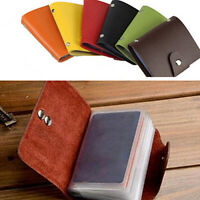 AU_ Men Women 24 Card ID Credit Card Holder Faux Leather Case Purse Wallet Novel