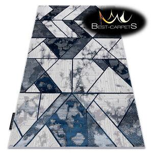Modern Designer cheap Rug DE LUXE structural geometric CREAM / NAVY High Quality