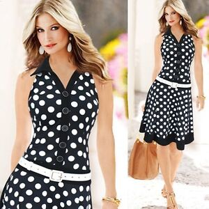 Womens Evening Prom Dresses Sleeveless Slim Midi Polka Dot Dress Summer HOT