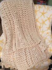 NEW Chunky Boho Chic Crocheted Fisherman Style Afghan Throw Super Soft