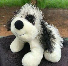"""Ganz Webkinz Fuzzy Black & White Cheeky Puppy Dog 8"""" Plush Stuffed Animal Toy"""