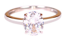 Shape 2.10 Carat Solitaire Engagement Ring Solid 14Kt White Gold Awesome Oval
