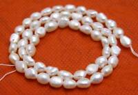 6-7mm Baroque White Natural Pearl Loose Beads for Jewelry Making DIY Strand 14''