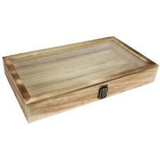 SALE! Large Oak Wood Jewelry Display Case Tempered Glass Top Lid Security Lock