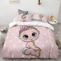 3D Cartoon Bedding Set for Kids/Baby/Child/Boy/Girl,Pink elephant Duvet Cover Se