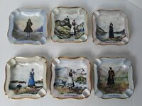 Vintage Set Of 6 Hand Painted Porcelain Ashtrays Made In Oslo, Germany 1953