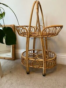 Vintage 1950s 1960s Bamboo Drinks Trolley Cocktail Bar Mid-Century Tiki Cane
