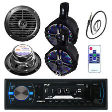 "200W 6.5'' Boat LED WakeBoard Speakers, 6.5"" Speakers, Bluetooth Radio, Antenna"