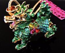 Betsey Johnson Necklace DRAGON CHINESE Green Gold Enamel Crystals Gift Box / Bag
