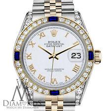 Rolex 31mm Datejust 2Tone White Roman Numeral Sapphire Diamonds 18K Gold Jubilee