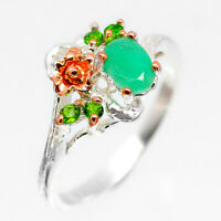 Vintage art women jewellery Natural Emerald 925 Sterling Silver Ring / RVS221