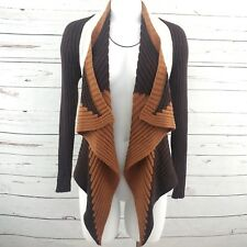 Mona Leah Couture Cardigan Sweater M Brown Colorblock Cotton Wool Open Ribbed