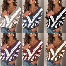 Sweater Casual V Neck Blouse Tops Long Sleeve Jumper Loose Knitted Women's