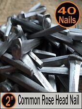 "(40) 2"" - COMMON ROSE HEAD NAIL  - Antique Vintage Rustic Nails - 6d"