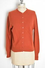 vintage 60s sweater rust lambswool wool pinup cardigan basic simple jumper L