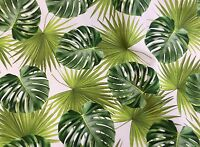 GREEN PALM LEAVES Cotton Fabric for Curtain Upholstery TROPICAL LEAF 140cm wide