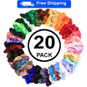 20Pack Hair Scrunchies Velvet Elastic Hair Bands Scrunchy Hair Ties Ropes Gift