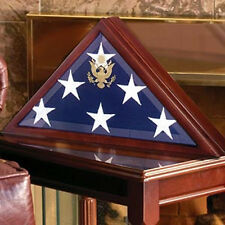 American Burial Flag Box, Large Coffin Flag Display Case Hand Made By Veterans