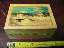 JAPANESE  MAGIC  BOX  MARQUETRY  MT.  FUJIYAMA  EXCELLENT  WORKING  ORDER