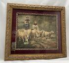 "Framed Matted Vintage Litho Print Women Farming Sheep Herding 17.5""L x 15.5""H"