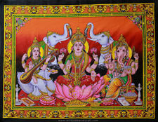 wandbehang LAKSHMI GANESHA SARASWATI thangka orient hippie goa psy indien